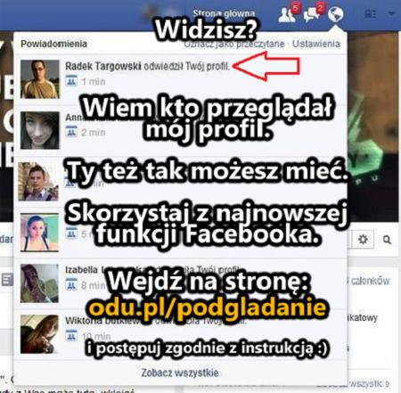 Sprawdź kto przeglądał Twój profil na Facebooku :)