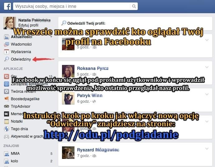 """Nowa funkcja \""""Odwiedziny\"""" na Facebooku :)"""