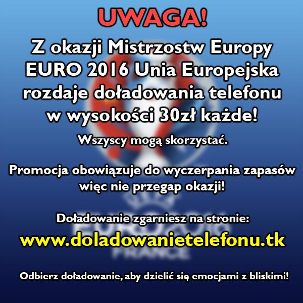 Zgarnij doładowanie telefonu 30zł na Euro!